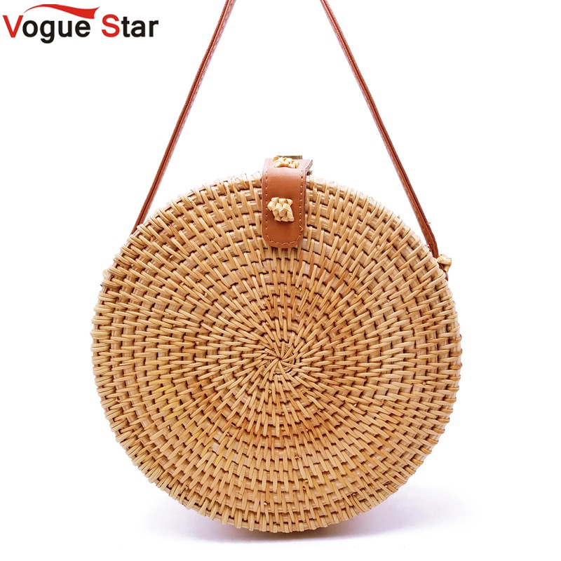 2018 Bohemian Bali Rattan Bags for Women Small Circle Beach Handbags Summer Vintage Straw Bag Handmade messenger bag L26 цена