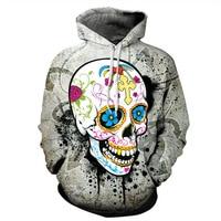 Colorful skull stampe Pallacanestro jersey 3D con cappuccio uomo donna 2017 Halloween Con Cappuccio Maglione cappotto di Baseball Baseball giacca da allenamento