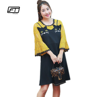 Fitaylor Plus Size Casual Women Yellow Print Patchwork Black Cat Short Dress 2017 Fashion Autumn Female
