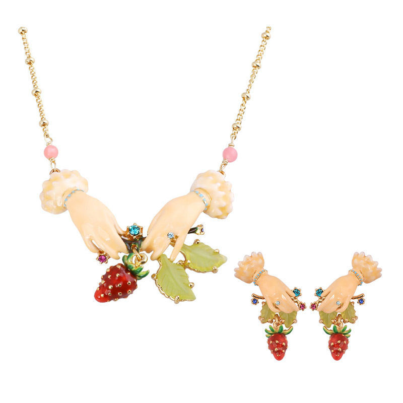 Warmhome Trendy Jewelry Enamel Glaze Cute Strawberry Fruit Palm Gem Leaves Necklace Earrings For Women Jewelry a suit of fashionable faux gem rectangle necklace and earrings for women
