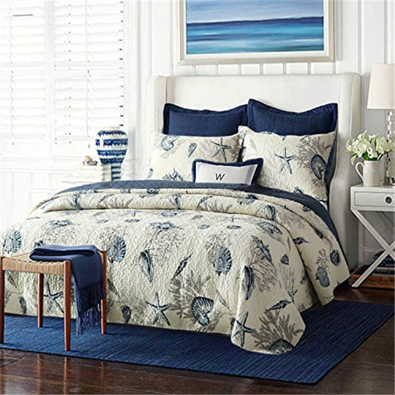 Nautical Bedding King: FADFAY Home Textile 100% Cotton Blue Ocean Comforter Set