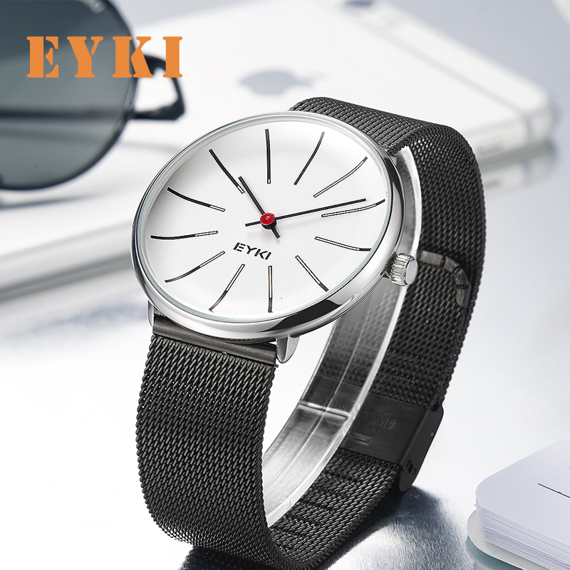 Eyki Couple Weave Mech Strap Watches Classic Simple Milanese Stainless Steel Men Women Business Watch Japan Movement With Box Lover's Watches