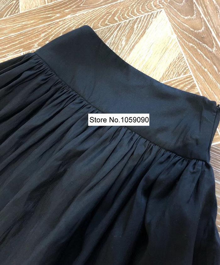 Noir Nerola Midi jupe taille haute avec poches femme mode Design a ligne plissée jupe 2019 nouveau-in Jupes from Mode Femme et Accessoires    3