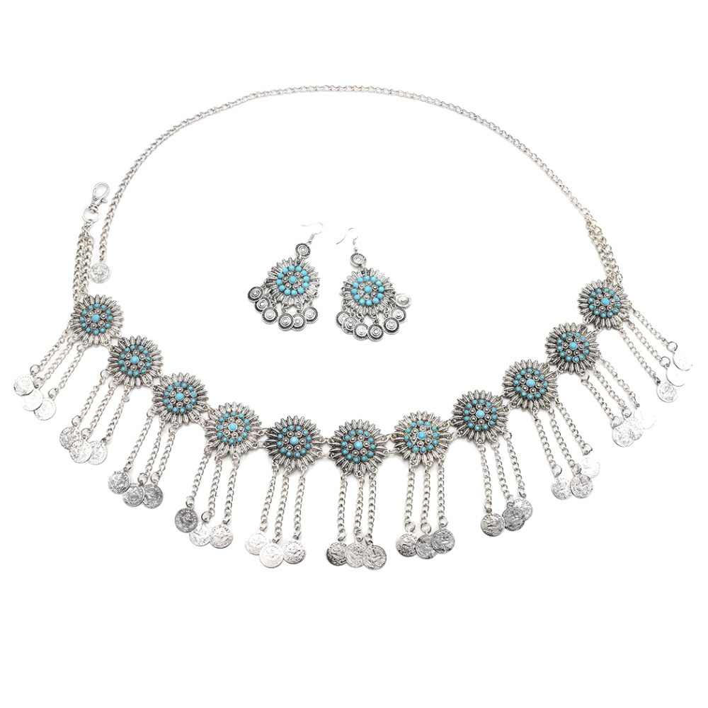 Gypsy Vintage Silver Flower Waist Belly Dance Belts Chains Afghan Jhumka Earrings Boho Coins Tassel Body Jewelry Sets Turkish