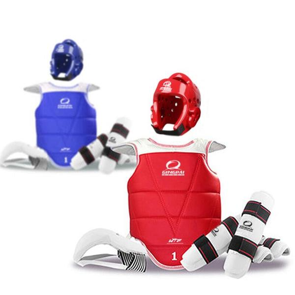 Adult Kids Child Tae kwon do Thickening WTF Taekwondo Protection 6pcs/set Chest Protector Karate Helmet Arm & Shin Guard taekwondo protective gear set wtf hand chest protector foot shin arm groin guard helmet 8pcs children adult taekwondo karate set page 8