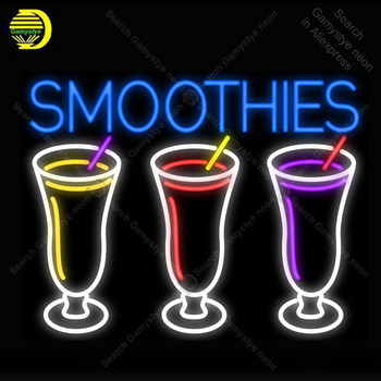 Smoothies 3 Logo NEON LIGHT SIGN Cups Neon Sign Decorate Wall Hotel BEER PUB Pub Food Sign Display Handcraft Iconic Sign light