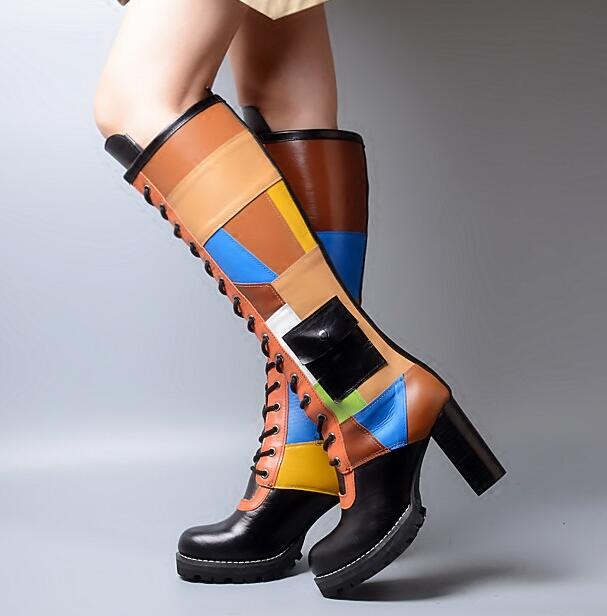 chunky heel platform lace up