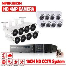 NINIVISION новый супер Full HD 16CH AHD 4MP Главная Открытый CCTV Системы Kit 16 канала Камеры Скрытого видеонаблюдения 4.0MP безопасности Системы комплект