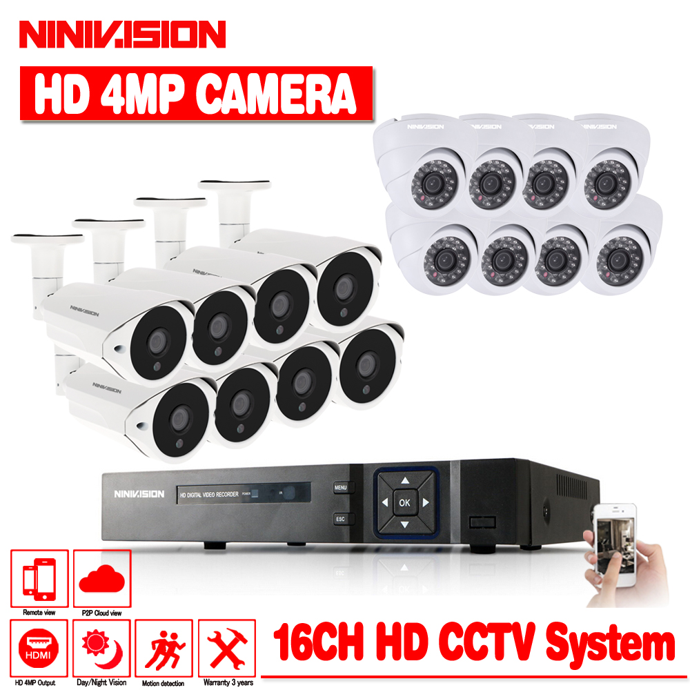 NINIVISION New Super Full HD AHD 16CH 4MP Casa Ao Ar Livre Sistema de Segurança CCTV Kit Sistema de Câmera de Vigilância Canal 4.0MP 16 kit