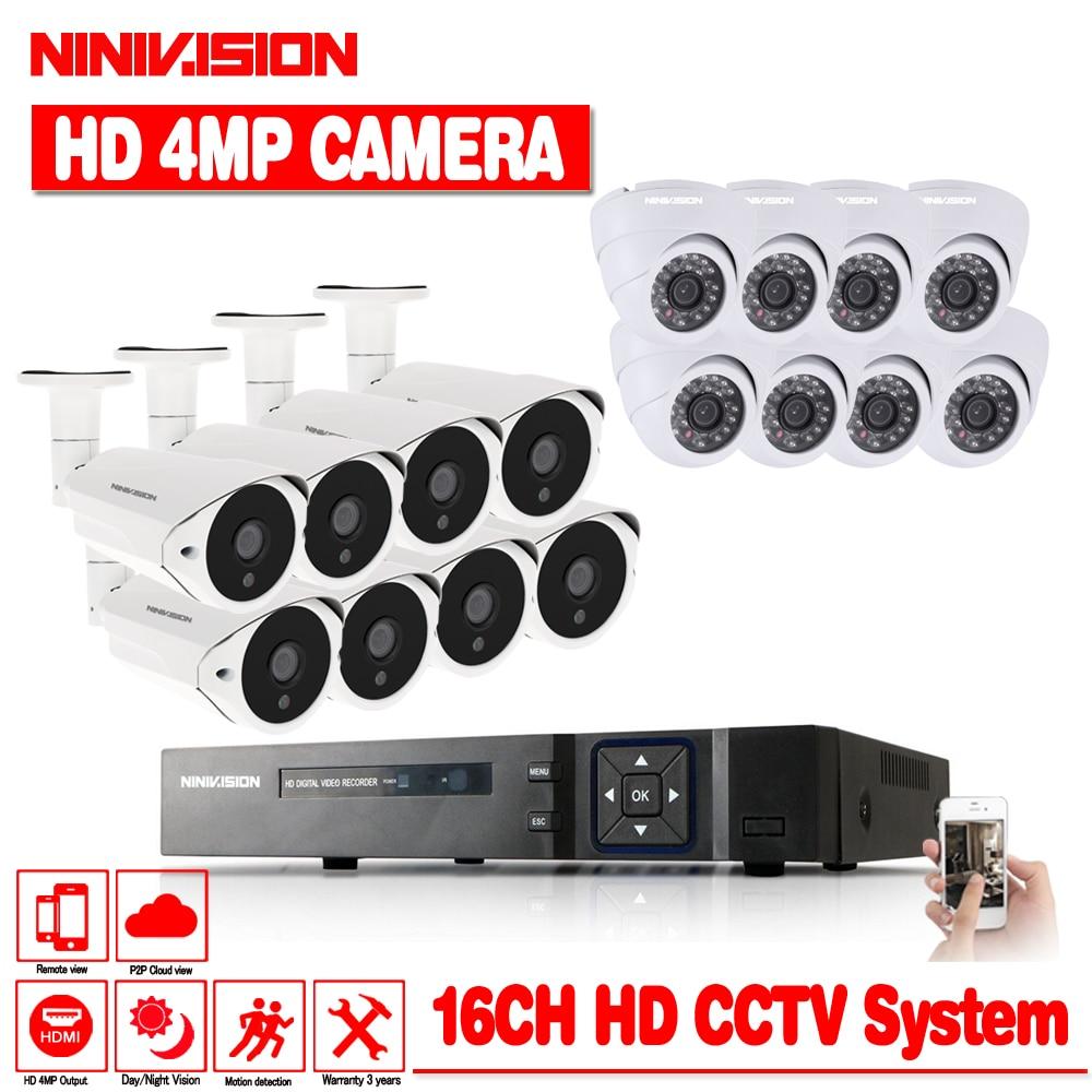 NINIVISION Nouveau Super Full HD 16CH AHD 4MP Accueil Extérieure CCTV Système Kit 16 Channel Surveillance Caméra 4.0MP Système de Sécurité kit