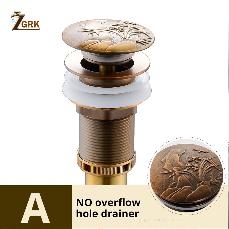 ZGRK Antique Brass Water Pipe Water Heater To Flip Bounce European Art Basin Water Leakage Threaded Bathroom AccessoriesZGRK Antique Brass Water Pipe Water Heater To Flip Bounce European Art Basin Water Leakage Threaded Bathroom Accessories