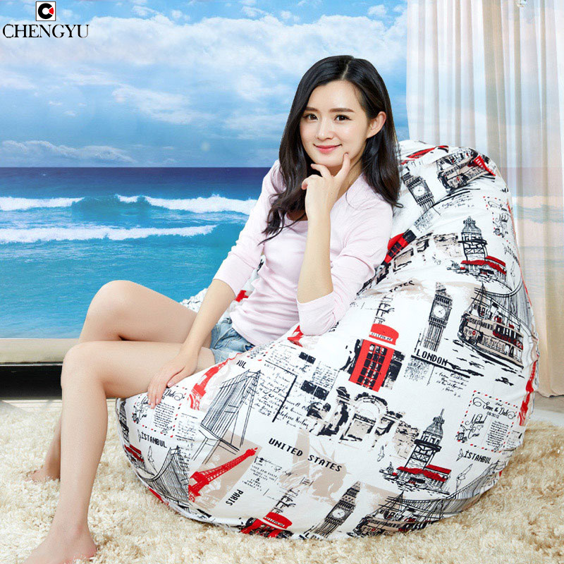 Printing Bean Bag Home Furniture Sofa Living Room Furniture Single Seat Creative Lounger Sofa linen Bedroom