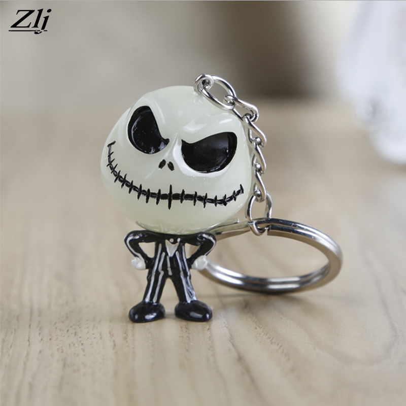 New Cartoon KeyChain Eve Skull Jack Luminous Keyring Vocal Pendant Key chain Fashion Ghost Car Pendant Key Ring Creative Gift trendy movie silent night jack skull keyring