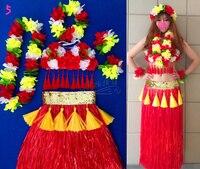 Free shipping Hawaii hula skirt garishness clothes set adult costume set 80cm thickening