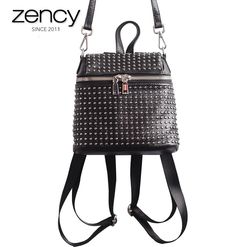 купить Genuine leather Women's Casual Backpack Ladies Mini Design Rivets Black Shoulder bags Fashion Travel Ipad High Quality Purses по цене 2707.39 рублей