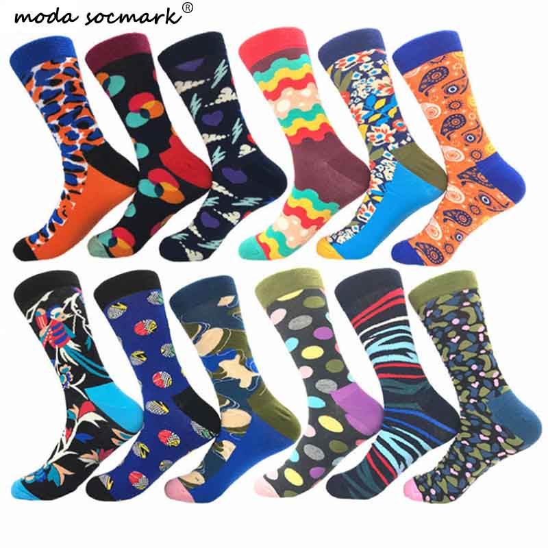 Moda Socmark Spring New Arrived Happy Socks Men Funny Colour Streetwear Hip Hop Geometry Pattern Designer Crew Sock Gift For Men