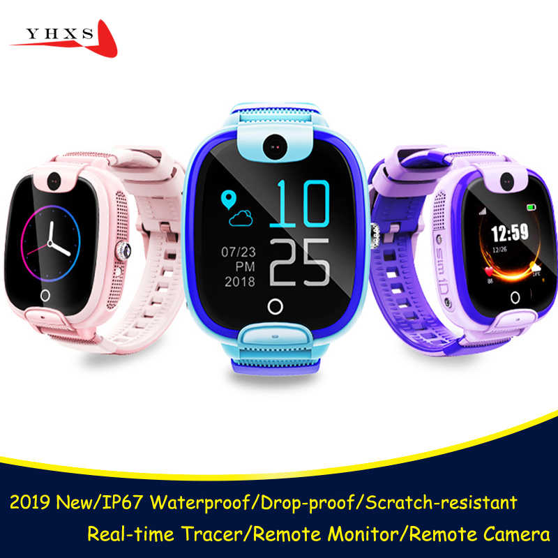 2019 New IP67 Waterproof Smart Accurate Tracker Location SOS Call Remote Monitor Camera Kids Student SIM Phone Watch Wristwatch