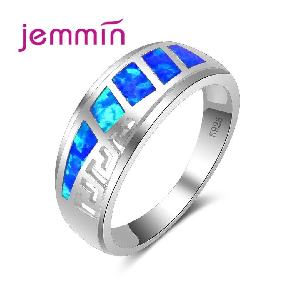 Charm Blue Fire Opal Rings Hollow Out Design S925 Razítkované Svatební Prsten stříbrný prsten pro nevěsty Anillos Mujer šperky