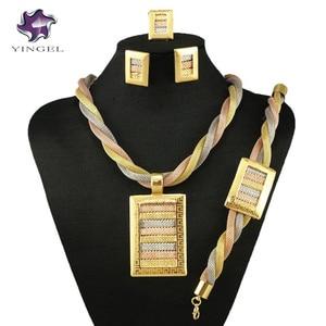 gold fine jewelry set party jewelry set women necklace big wedding jewelry necklace nigerian african jewelry(China)