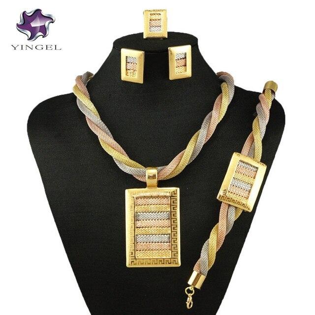 $  gold fine jewelry set party jewelry set women necklace big wedding jewelry necklace nigerian african jewelry