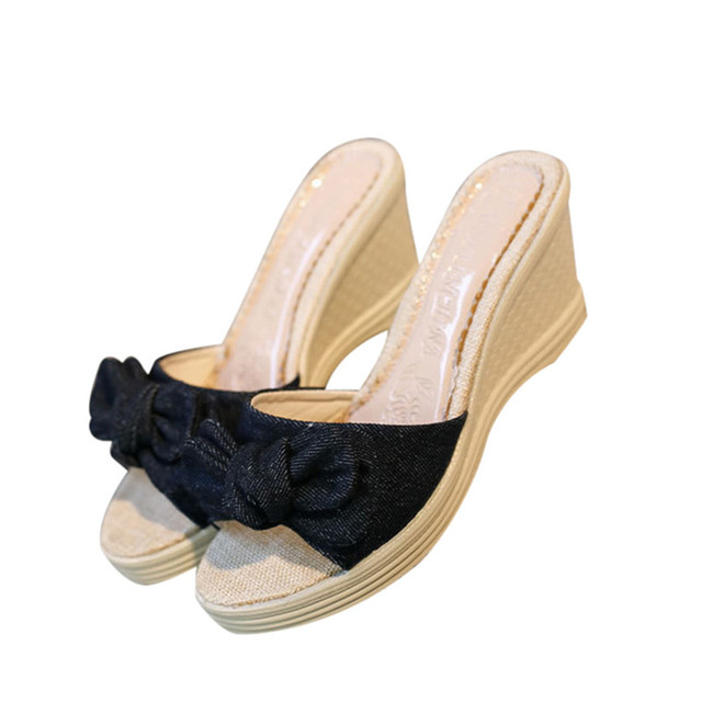 93b396885bd5 Casual Slippers Women New Fashion Female Simple Sandals Bow knot Sandals  Ladies Shoes Wedges Slides Summer Shoes