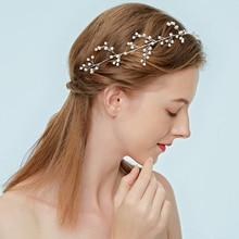 Elegant Wedding Bridal Headbands Hair jewelry for Women Party Simulated Pearls handmade headpiece accessories original Huo Mei