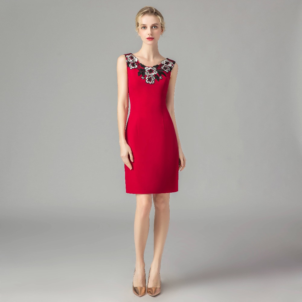 ruthshen Red Mother Of The Bride Dresses Elegant Sheath Knee Length Plus Size Mother Formal Gown