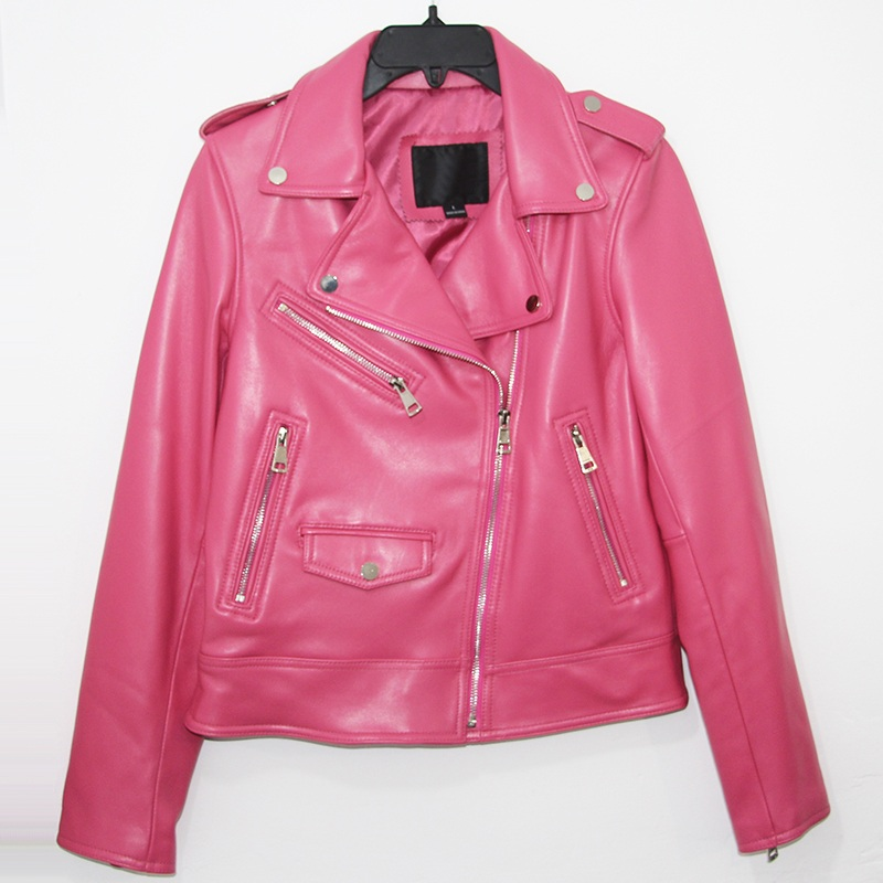 Free Shipping,quality Woman Pink New Genuine Leather Slim Jackets.motorbiker Female Sheepskin Jacket Brand Suede Cool