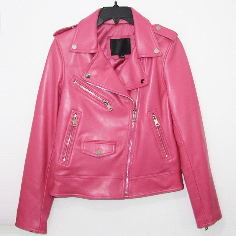 Livraison gratuite, qualité femme rose nouveau cuir véritable slim vestes. motorbiker femme en peau de mouton veste marque daim cool
