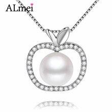 Almei 7mm perlas de agua dulce de apple colgante collar de cadena de plata de ley 925 de joyería fina para las mujeres de compromiso con la caja cn046(China (Mainland))
