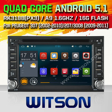 WITSON Android 5.1 CAR DVD GPS for PEUGEOT 307 Capacitive touch screen Cortex A9 dual-core1.6G 8GB Rom Free Shipping+GIFT