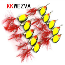 Attractive 5pcs 6g Lures Metal Spinner Spoon Fishing Lure Hard Baits Sequins Noise Paillette with Feather Treble Hook Tackle