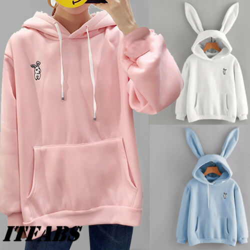 Hot Women Rabbit Ear Girl Long Sleeve Hoodie Sweatshirt Hooded Coat Tops Cute Lady Autumn Winter Warm Sweat Shirts New