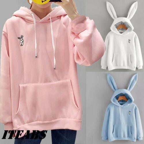 Hot Women Rabbit Ear Girl Long Sleeve Hoodie Sweatshirt Hooded Coat Tops Cute Lady Autumn Winter Warm Sweat Shirts New