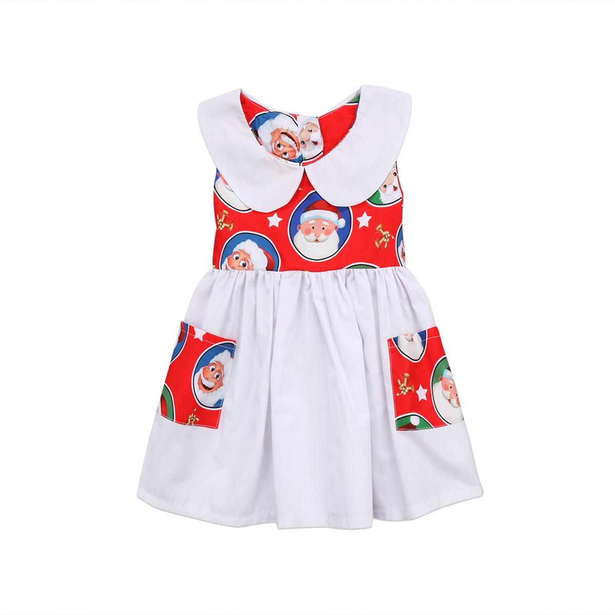 Child Baby Girl Sleeveless Christmas Dress Little Girls