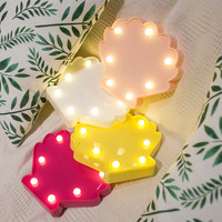 Shell Shaped Table Lamp 3D Yellow Red Pink White Marquee Sign Led Letter Night Light Home Decoration 2*AA Battery Operated Lamp