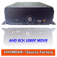 HD AHD1080P 8 channel SD card hard drive car video recorder MDVR support 3G/GPS/4G/WIFI car video recorder