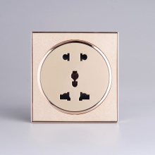 2PCS Wall Electrical Socket Universal Multifunction 5 Hole Power Outlet l Champagne Gold, AC 250V wallpad luxury universal socket goats brown leather frame ac 110v 250v 5 pin universal wall socket outlet free shipping