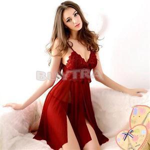 Ночное белье женское красное сексуальное длинное Ночная сорочка Прозрачное платье вечерний халат ночная рубашка