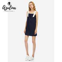 AZULINA Sweet Casual Plaid Dress European Style 2017 Women Summer Autumn Sleeveless Dress Vintage Basic Dress