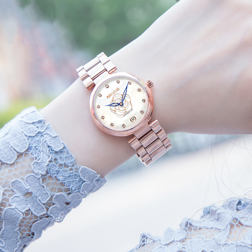 2019 Fashion Mechanical Women Watches Stainless Steel Diamand Luxury Ladies Watch Skeleton Flower Female Clock relogio