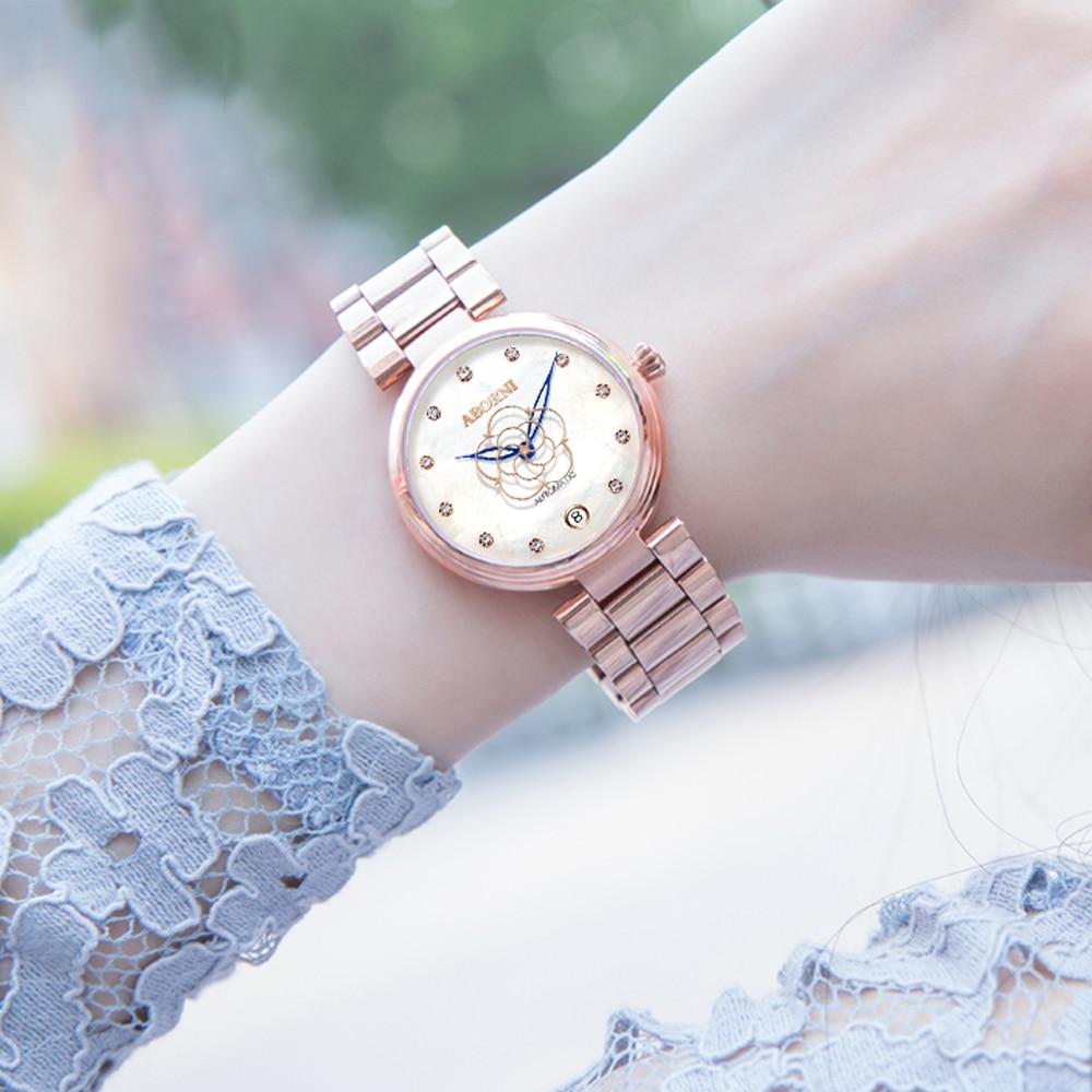 2019 moda mechaniczne kobiet zegarki ze stali nierdzewnej diamentowe luksusowe panie zegarek skeleton kwiat kobieta zegar relogio feminino w Zegarki damskie od Zegarki na  Grupa 1