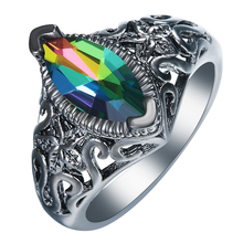 Size 7 8 9 Black Gun Promise Rings Lady Gift Cheap Fashion Jewelry Oval Crystal Rainbow Luxury Engagement For Women