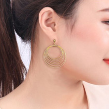 2019 European and American Tassel earrings fashion metal popular exaggerated multi-layer round ear ornaments