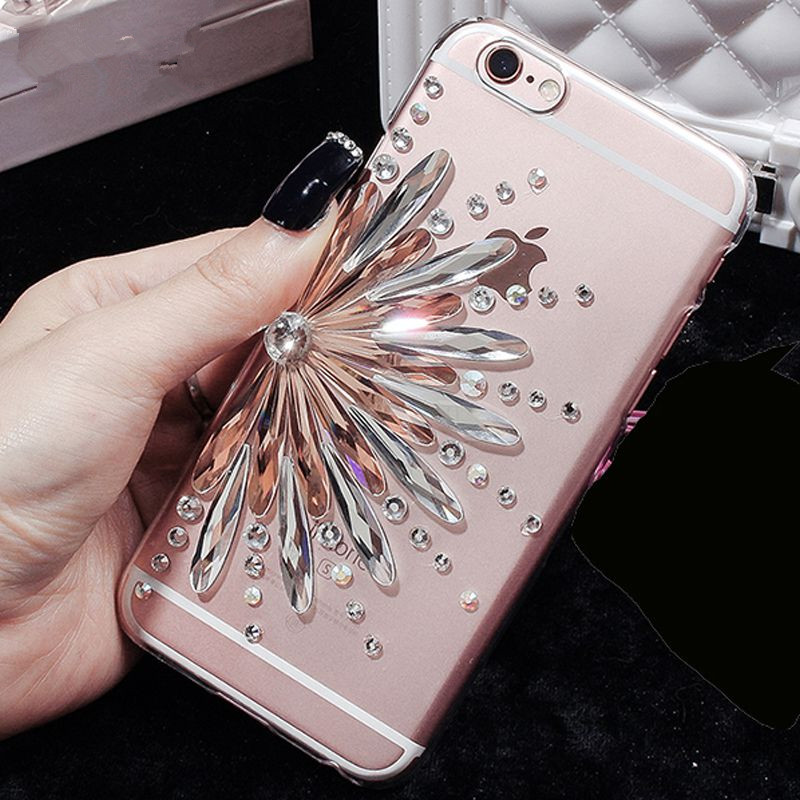 2016 Hot! Fashion Luxury Diamond Sunflower Soft TPU Phone Case For iPhone 5 5s 6 6s 6Plus Ultra Thin Clear Crystal Rubber cover