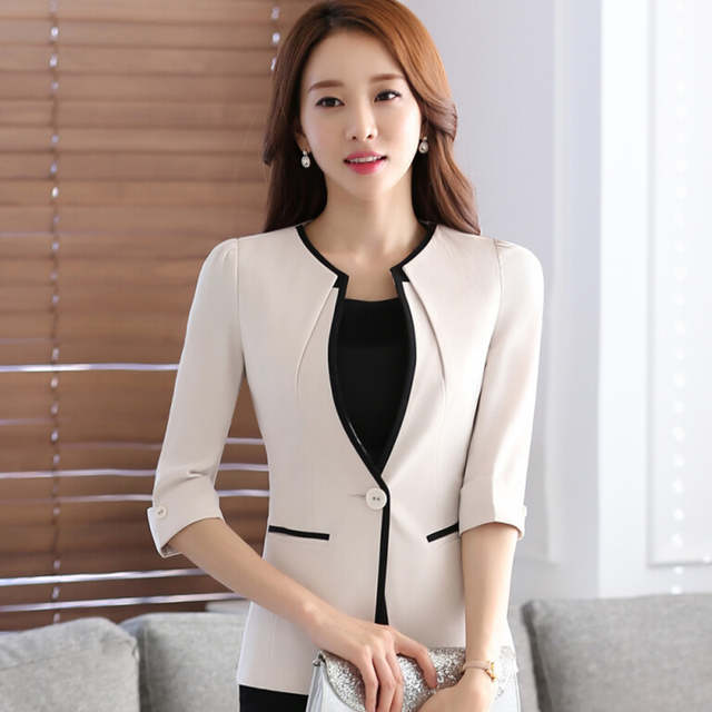 55955c0eb8c placeholder Female career fashion half sleeve women blazer New plus size  formal slim jackets office ladies plus