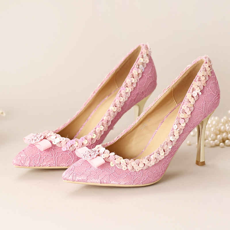 Pink lace bow ultra high heels bridal shoes pointed toe thin heels rhinestone wedding shoes formal