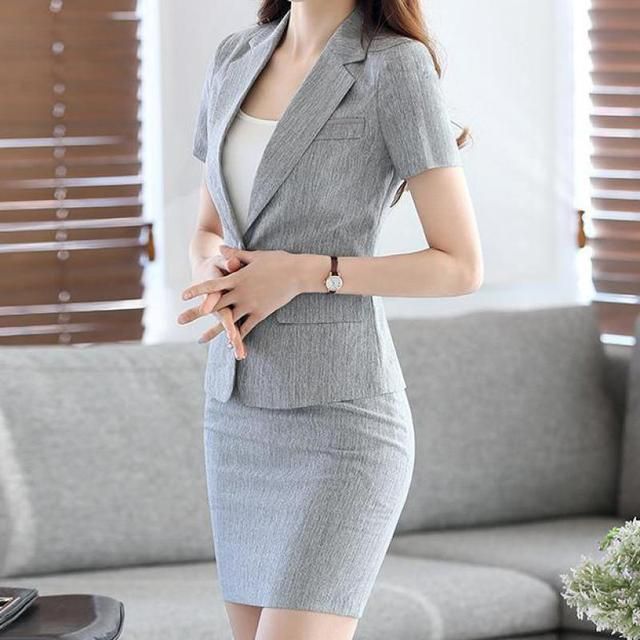 874e64feb964 Plus Size Sexy Work Business Skirt Suits Set Blazers Office Casual Formal  Women OL Elegant Blue Runway Suit 2 Pieces New Arrival