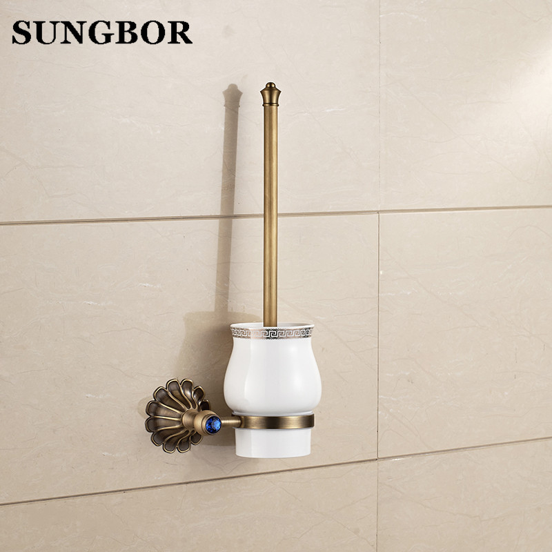 Antique Copper Toilet Brush Holder Ceramic Solid Brass Bathroom Toilet Brush Cup Holder Rack Bathroom Brush Shelf HY-2309F antique brush toilet brush holder luxury carved solid brass toilet cleaning holder ceramic cup bathroom accessories