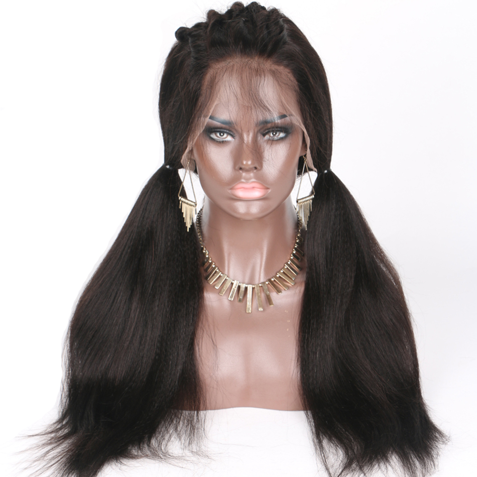 LUFFYHAIR 5x4 5 Silk Base Full Lace Wig Yaki Straight Peruvian Remy Hair 130 Density Pre